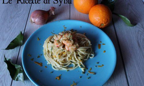 Spaghetti con Code di Gambero, Arancia e Scalogno