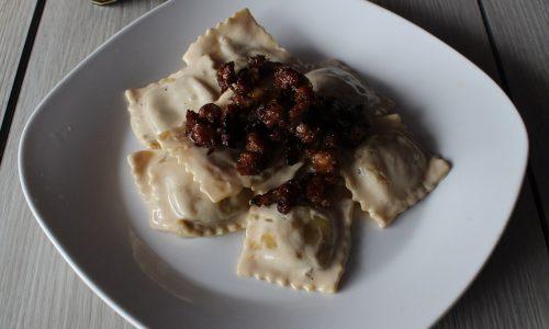 Tortelli di Zucca con Salsiccia al Balsamico di Modena