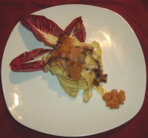 Tagliatelle con radicchio trevigiano, zucca di Chioggia e pancetta di Trisungo