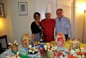 I padroni di casa e lo chef Luisa Coltellaro, chef Luca Borghini, Massimo del Vecchio