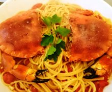 Spaghettoro Verrigni con granciporro e pomodoro Flagella