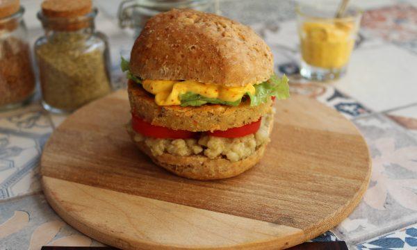 Burger di lenticchie con salsa allo zafferano (veggie)