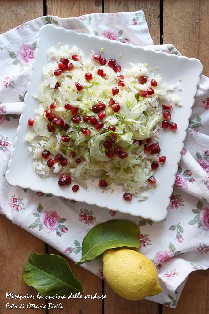 Insalata di riso tiepida con finocchi e melagrana