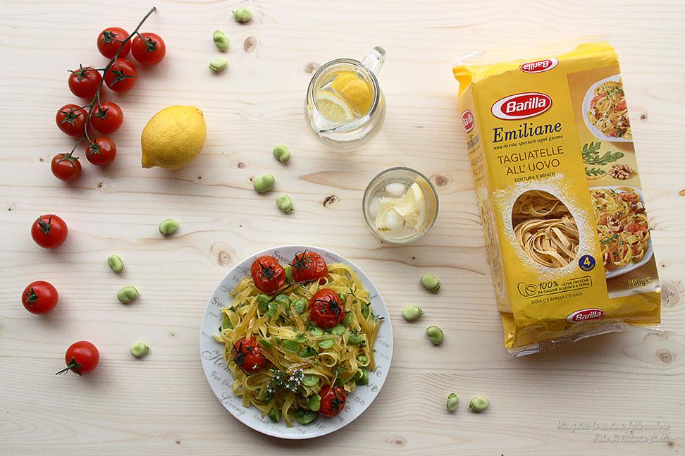 Tagliatelle fave, pomodorini arrosto e limone candito