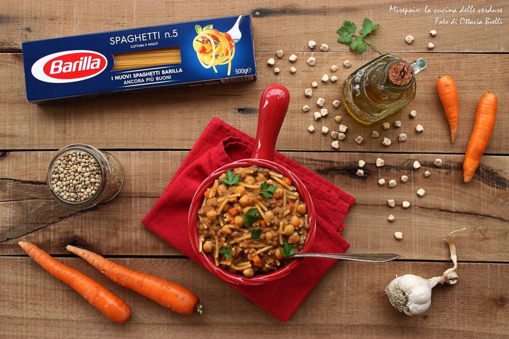 Zuppetta di legumi e spaghetti spezzati