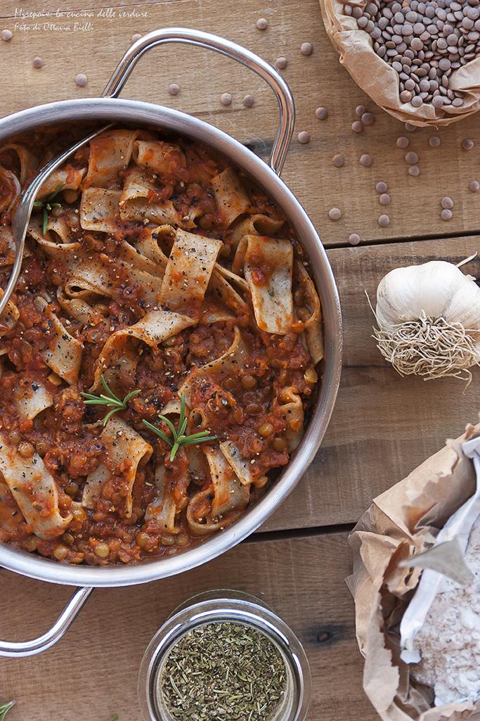 Pappardelle di farro con lenticchie stufate