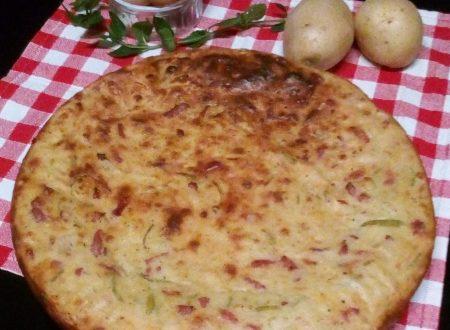 Tortino di patate, zucchine e pancetta