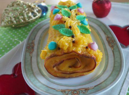 Rotolo di pasta biscotto ripieno di crema all'arancia