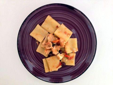 Paccheri con baccalà, olive pisciottane e capperi del Cilento