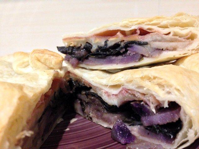 Patate viola e funghi neri per un tortino unico