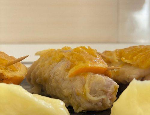 Involtini di carne con salsa all'arancia