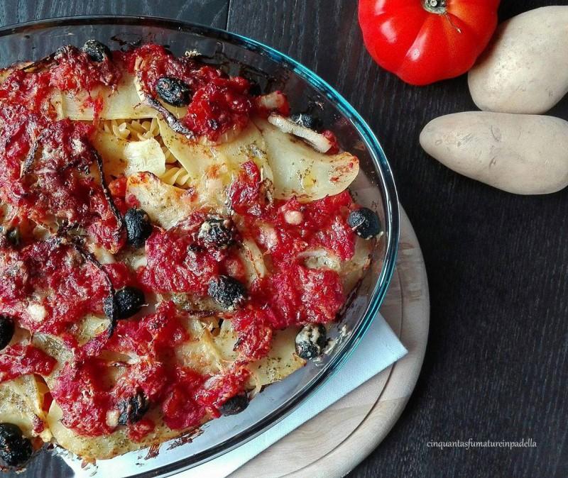fusilli al forno con patate e olive