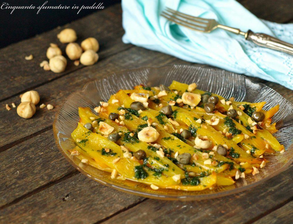 insalata di peperoni gialli con capperi nocciole e limone