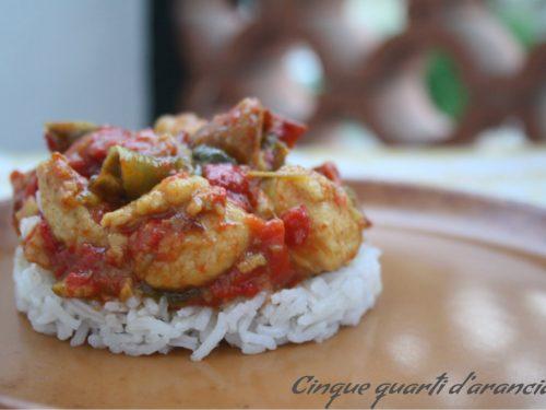 Pollo con i peperoni al profumo di curry!!