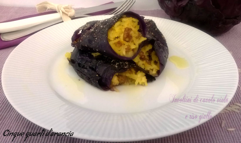 involtini di cavolo viola e riso giallo