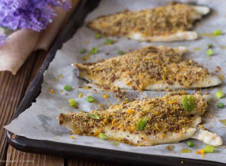 Filetti di orata gratinati con pistacchi e semi di lino