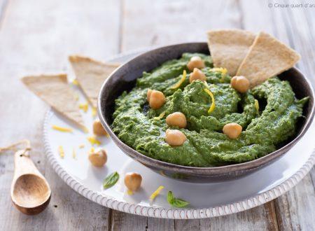 Hummus di ceci e spinaci con chapati