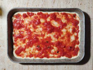 Pizza in teglia condimento