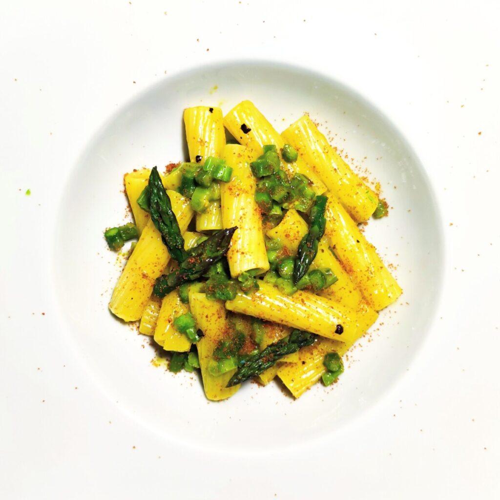 carbonara vegetariana di asparagi e bottarga carbonara di asparagi