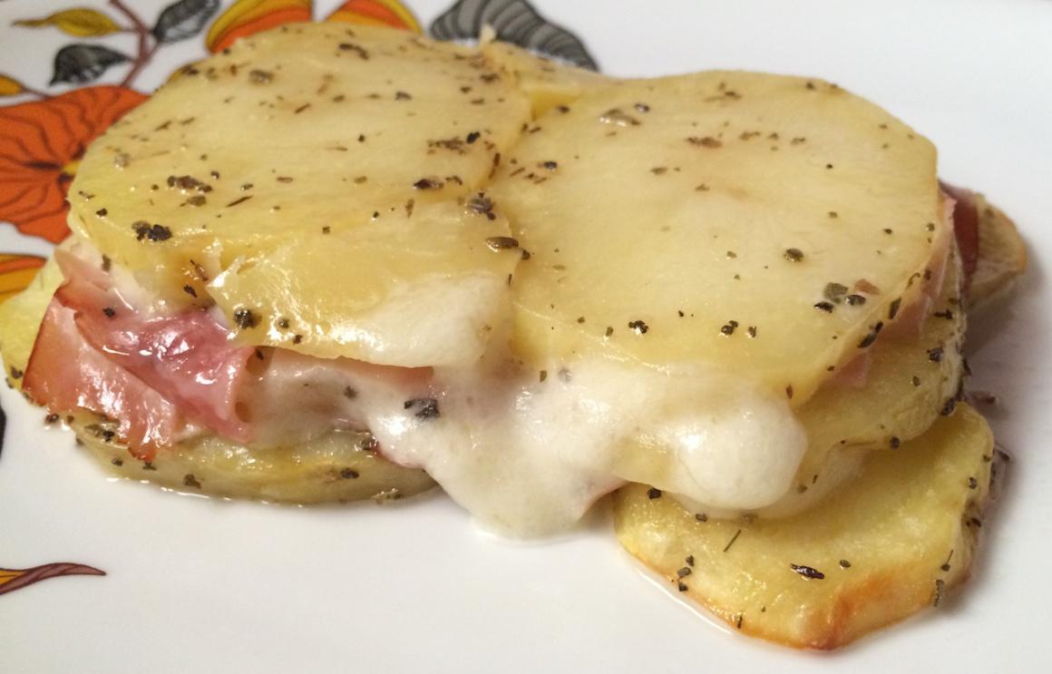 Millefoglie di patate con prosciutto di Parma