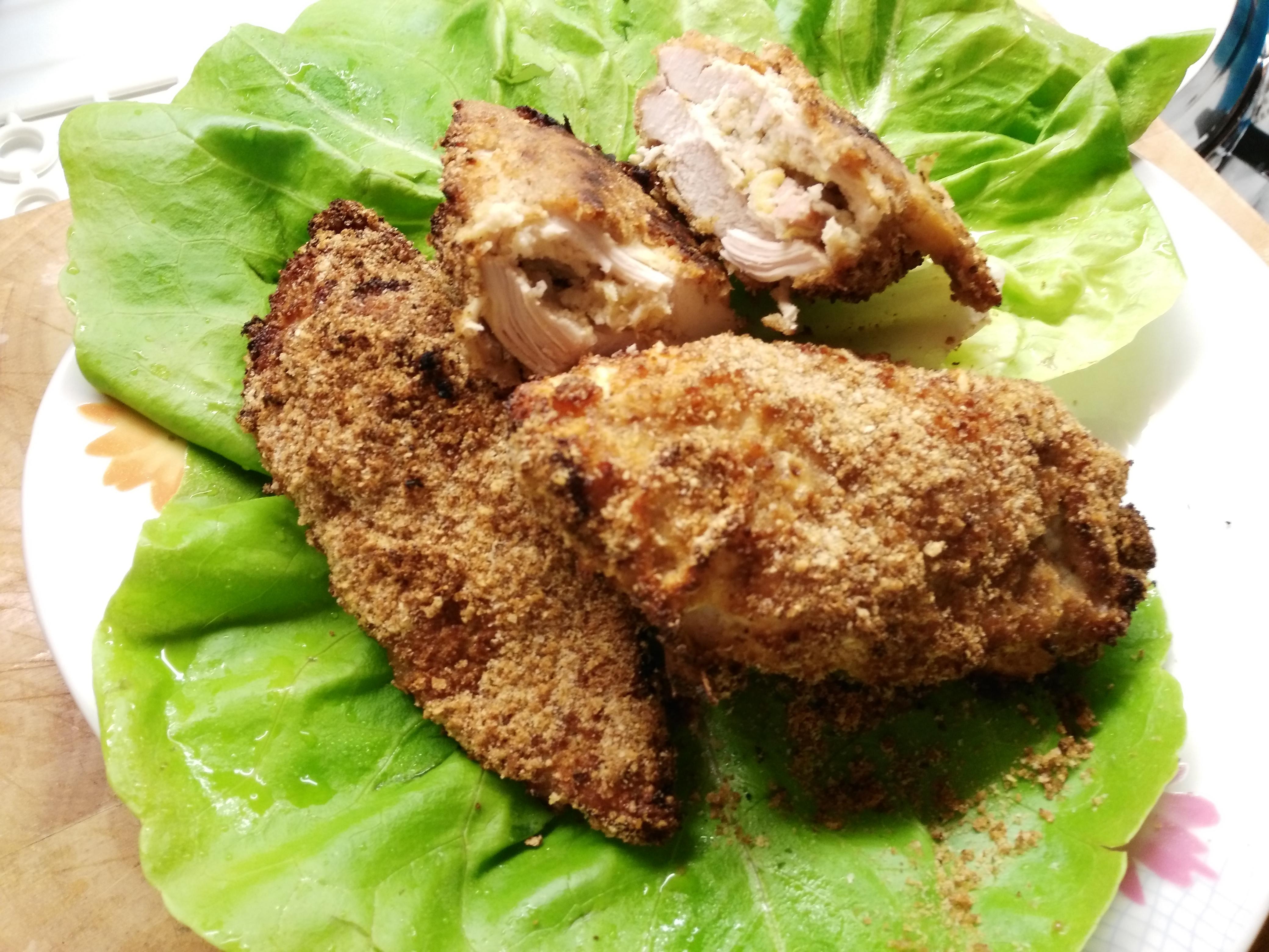 Pollo ripieno ed impanato cotto al forno