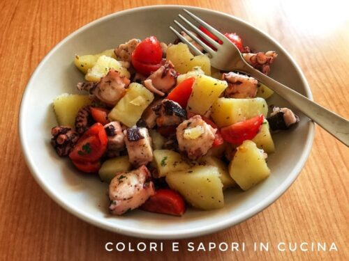 Insalata di polpo, con patate e pomodorini