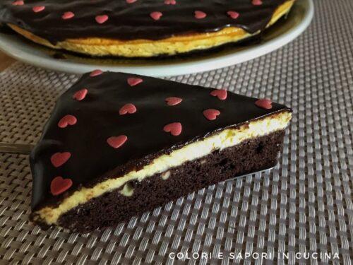 Cheesecake brownies, con glassa al cioccolato