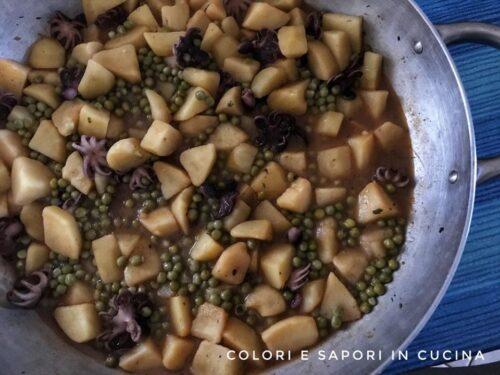 Moscardini in umido, con patate e piselli