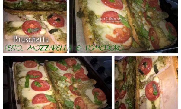 Bruschetta pesto, mozzarella e pomodoro. Come riciclare il pane raffermo in modo gustoso e scenografico.