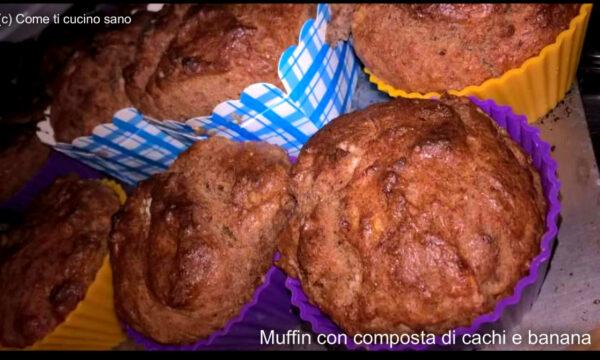 Muffin con composta di cachi e banana