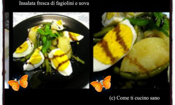Insalata fresca di fagiolini e uova con aceto balsamico