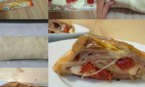 Strudel Salato di pasta sfoglia con mortadella e scamorza