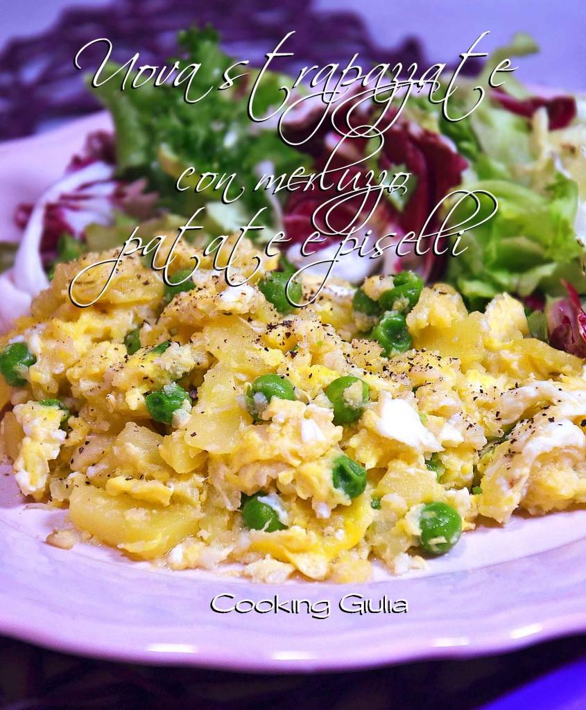 uova strapazzate   uova   scrambled eggs   merluzzo   piselli surgelati   patate   ricetta uova strapazzate   ricetta uova