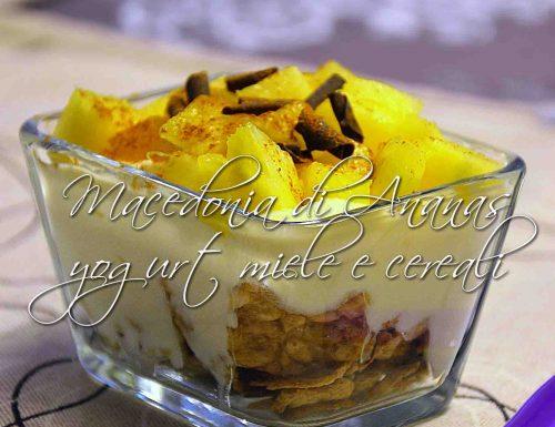 Macedonia di ananas yogurt e cereali