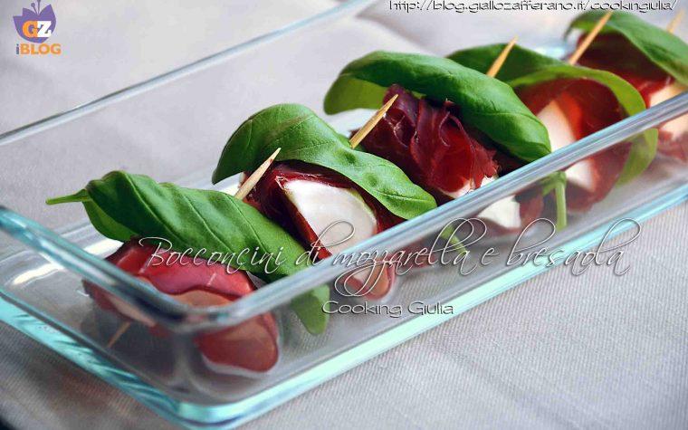 Bocconcini di mozzarella bresaola e basilico, ricetta finger food