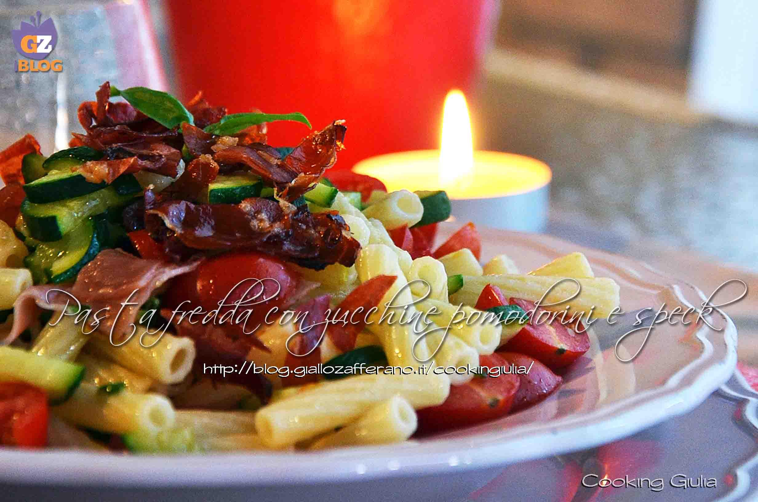 pasta fredda | zucchine | pomodori | pomodori perini | speck | basilico | cooking giulia