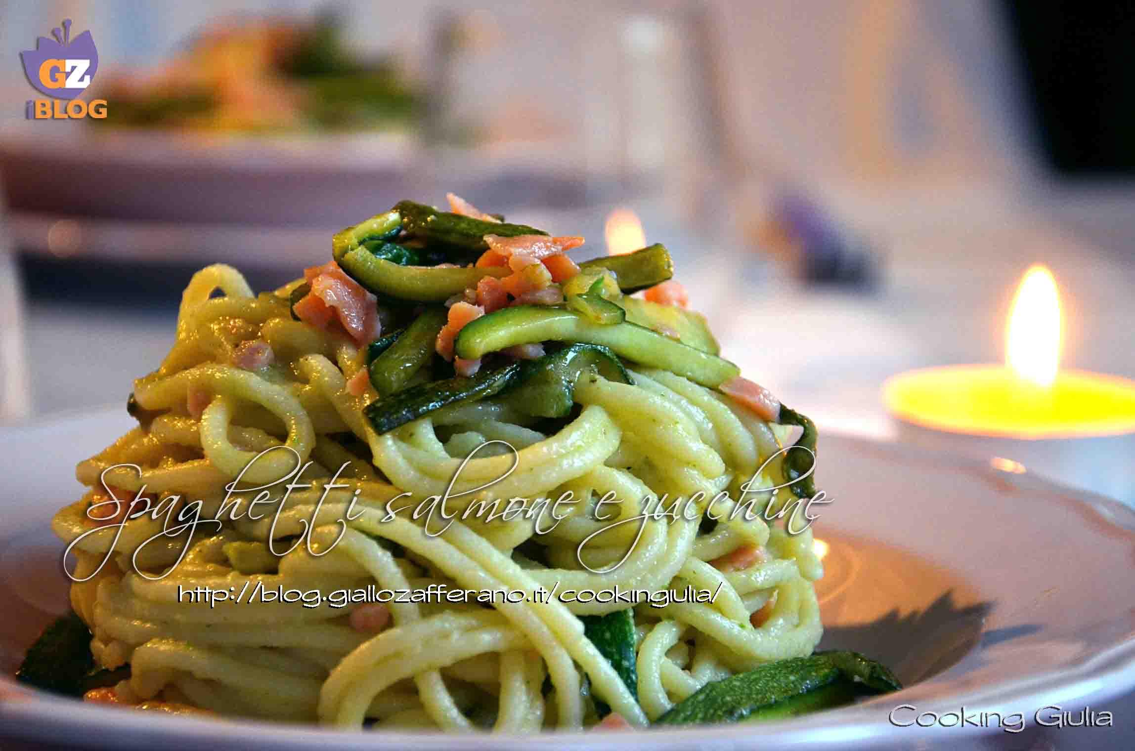 salmone e zucchine, salmone, zucchine, pasta, spaghetti, cooking giulia, salmone affumicato