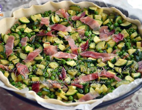 Torta salata piselli zucchine e speck
