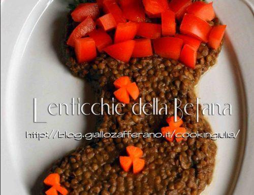 Piatto di lenticchie della befana