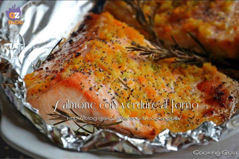 Salmone con verdure al forno