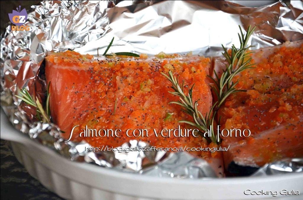 salmone | ricetta pesce | salmone al forno | salmone con verdure | trancio di salmone