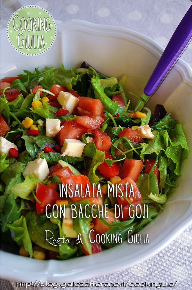 insalata mista, bacche di goji, goji, insalata, misticanza