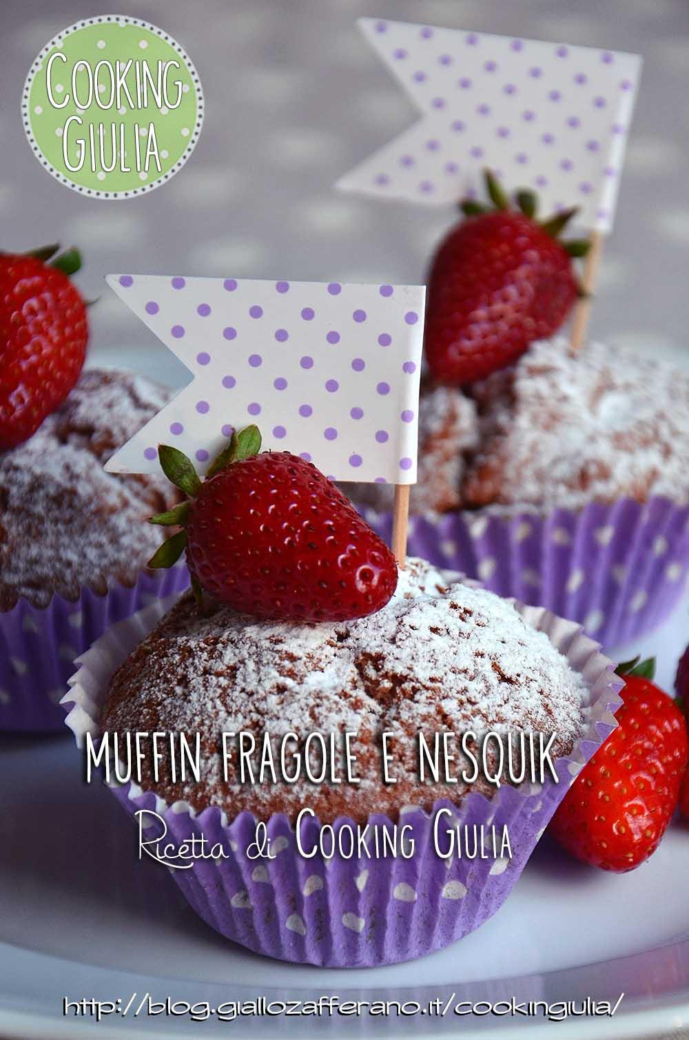 muffin nesquik | muffin | fragole | pois | nesquik | cooking giulia | stampini carta muffin | pirottini pois