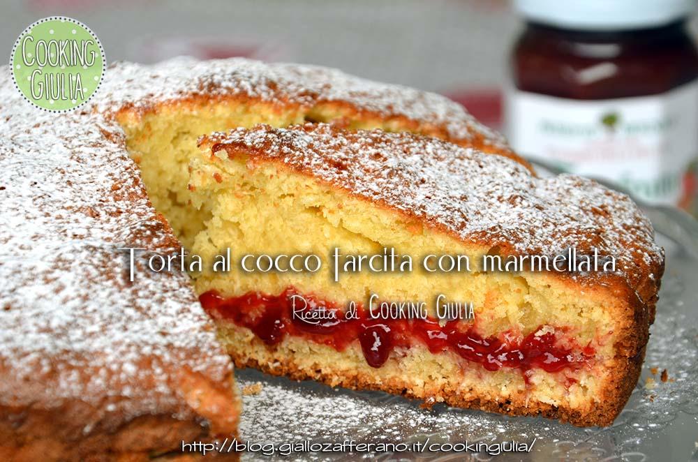 torta al cocco | torta cocco farcita con marmellata | cooking giulia