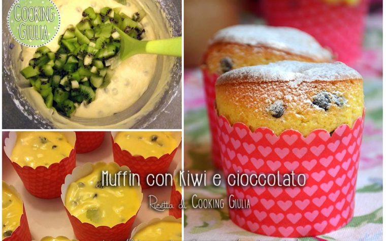 Muffin con kiwi e gocce di cioccolato