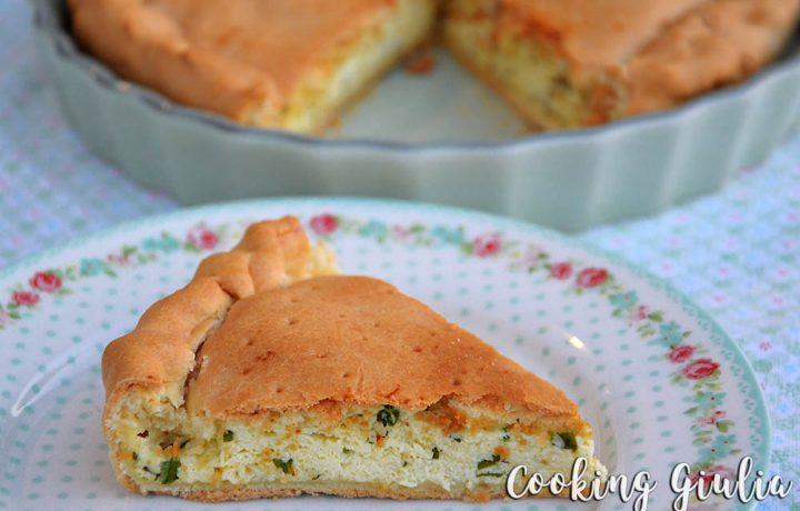 Torta ricotta e basilico con ripieno morbido