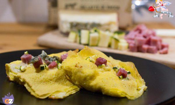 Crespelle gorgonzola cotto e zucchine