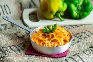 Spaghetti con crema di peperoni
