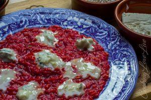 Risotto alla barbabietola e gorgonzola