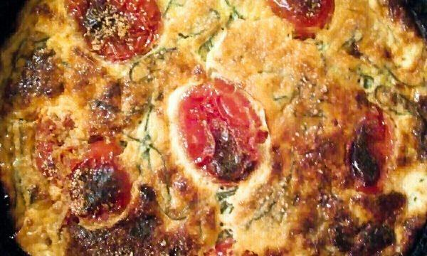 Frittata agli Agretti al forno con pomodorini e latte Kefir